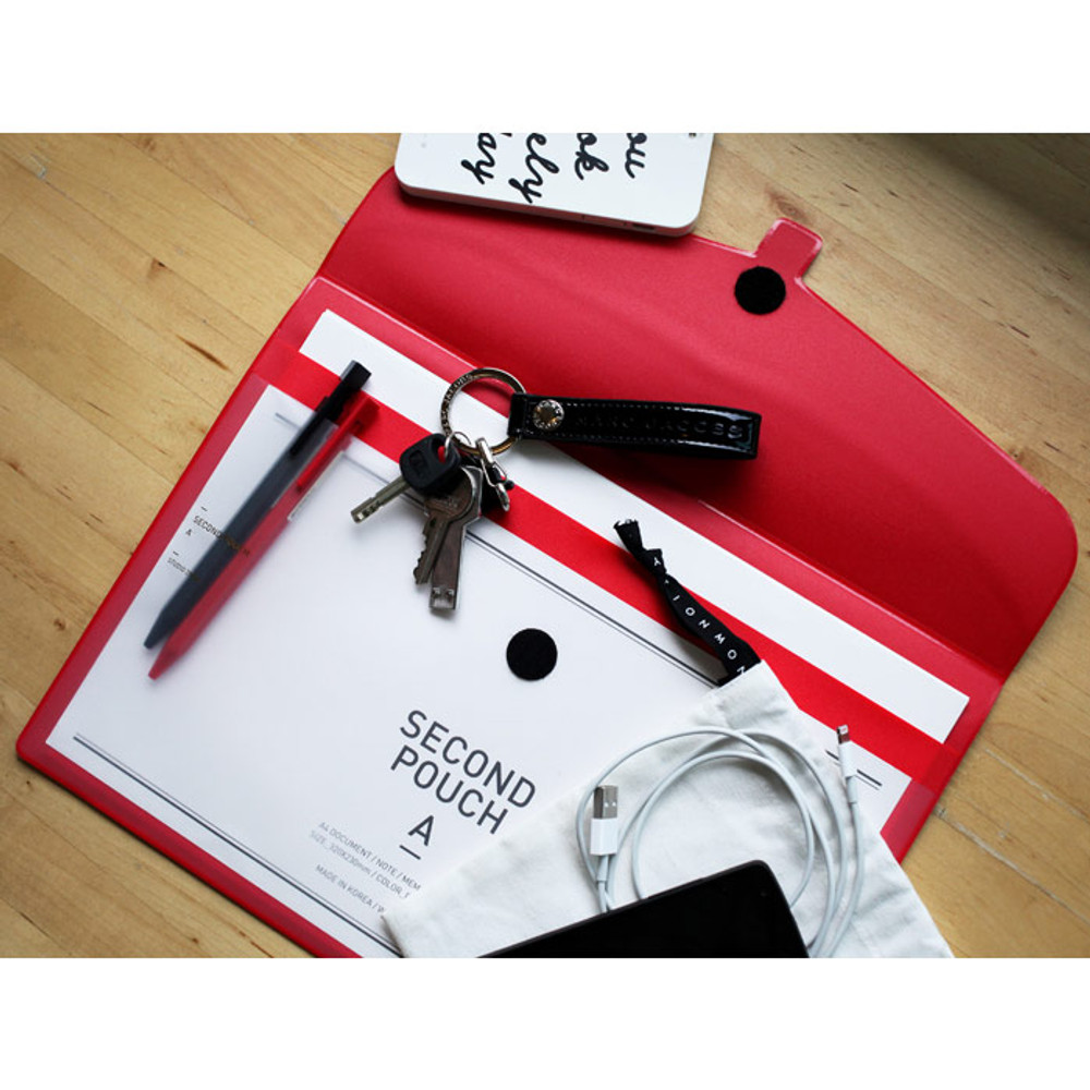 Red - Second pocket file folder pouch
