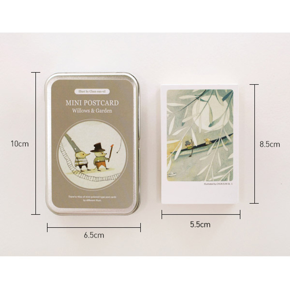 Size of Willow garden illustration mini postcard set