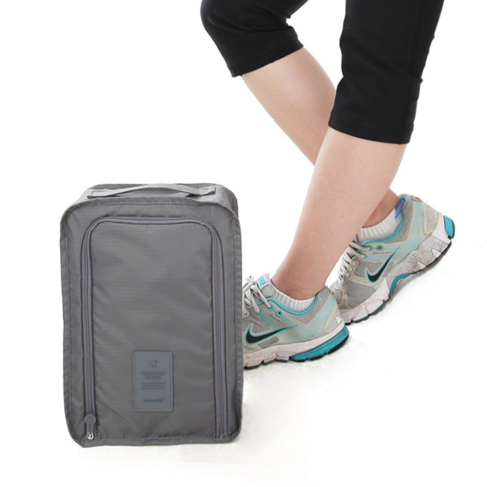 Gray - Travel zip shoes pouch bag