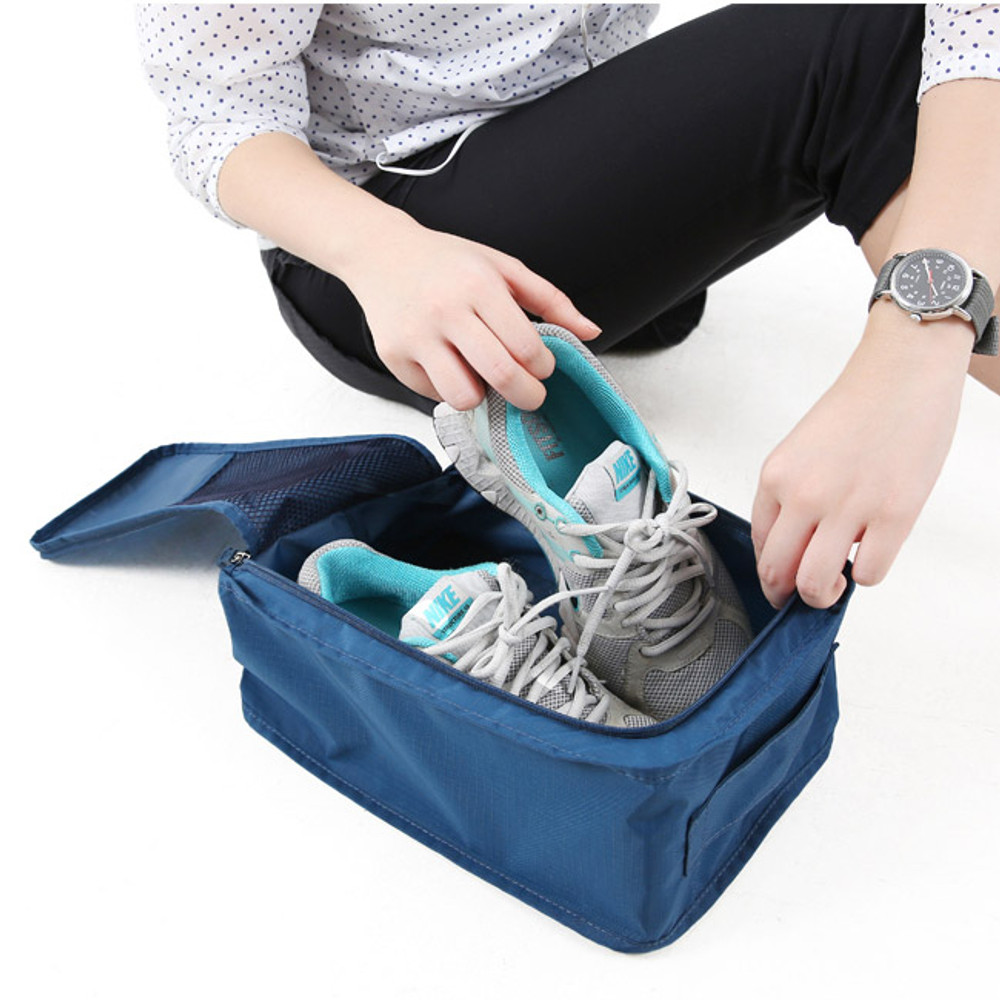 Navy - Travel zip shoes pouch bag