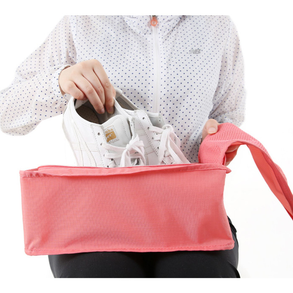 Peach pink - Travel zip shoes pouch bag
