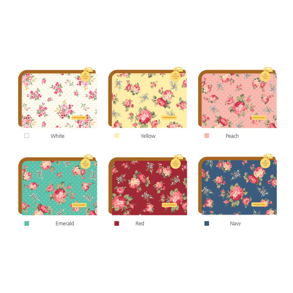 Colors of Pour vous flower pattern half zip around wallet