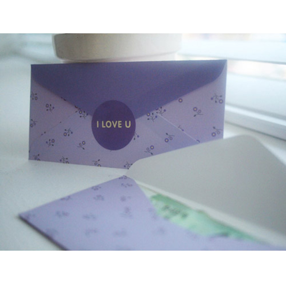 Violet flower - Pattern money envelope set with stickers