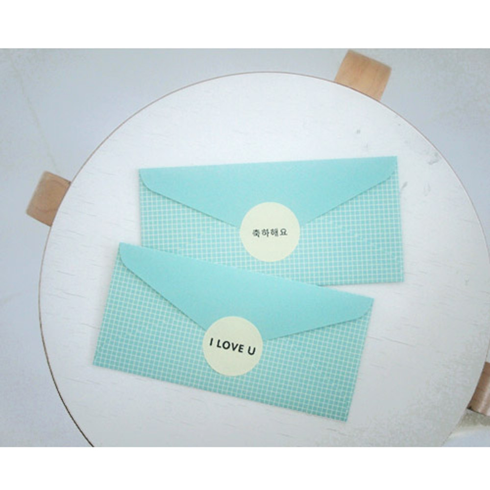 Mint grid - Pattern money envelope set with stickers