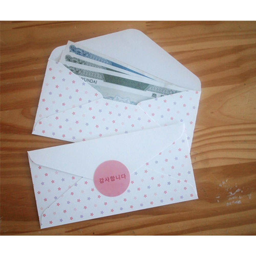 White flower - Pattern money envelope set with stickers