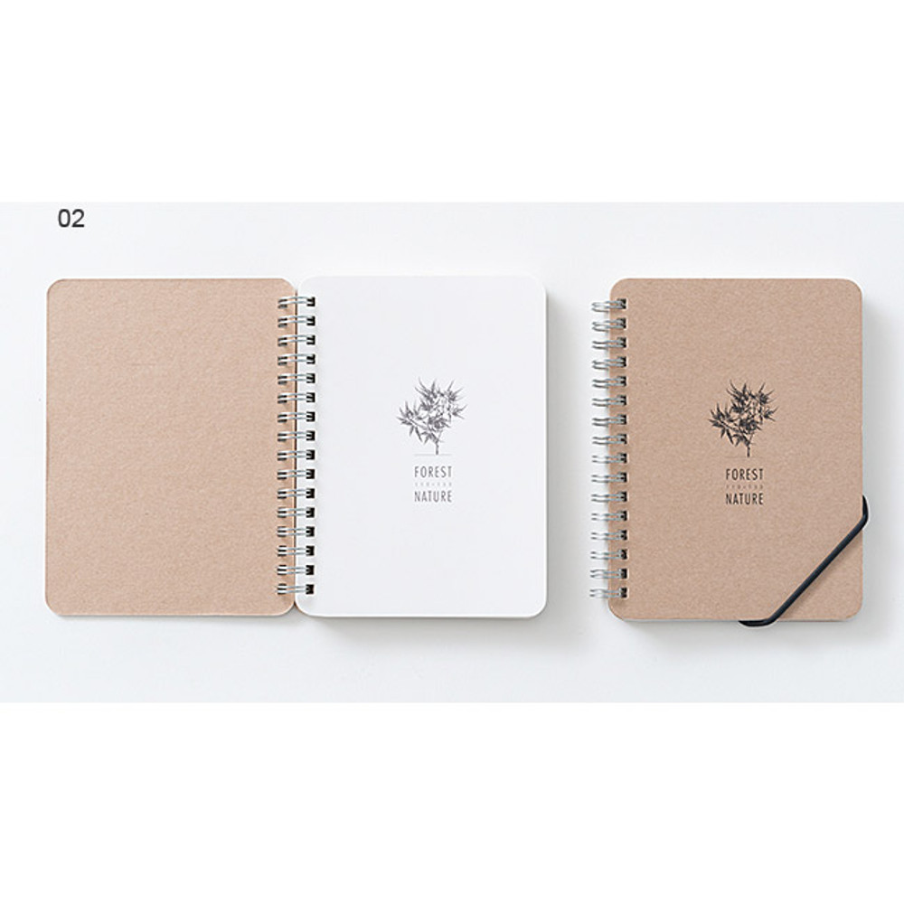 02 - Wirebound Kraft nature lined notebook small