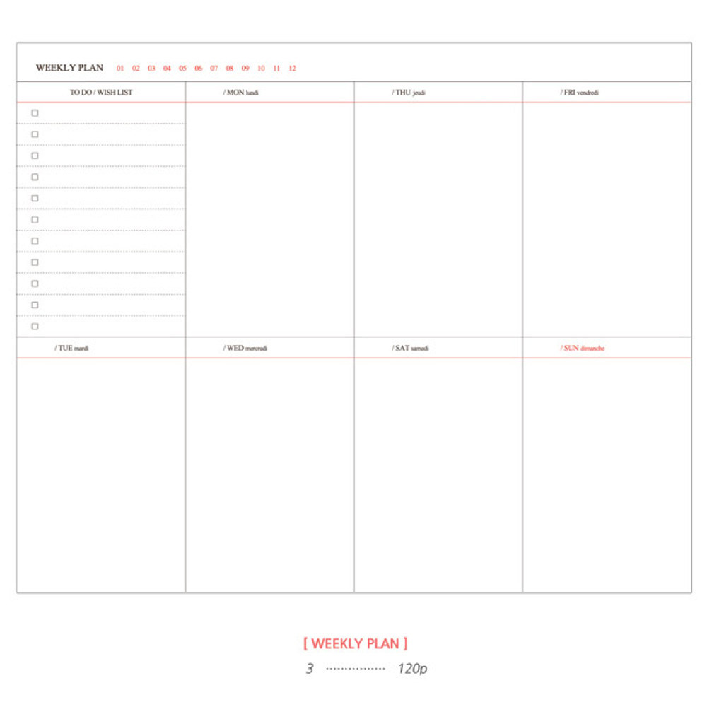 Weekly plan - 2015 Pour vous flower melody undated small diary