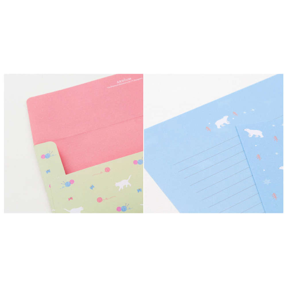 Detail of Cute animal letter paper and envelope set