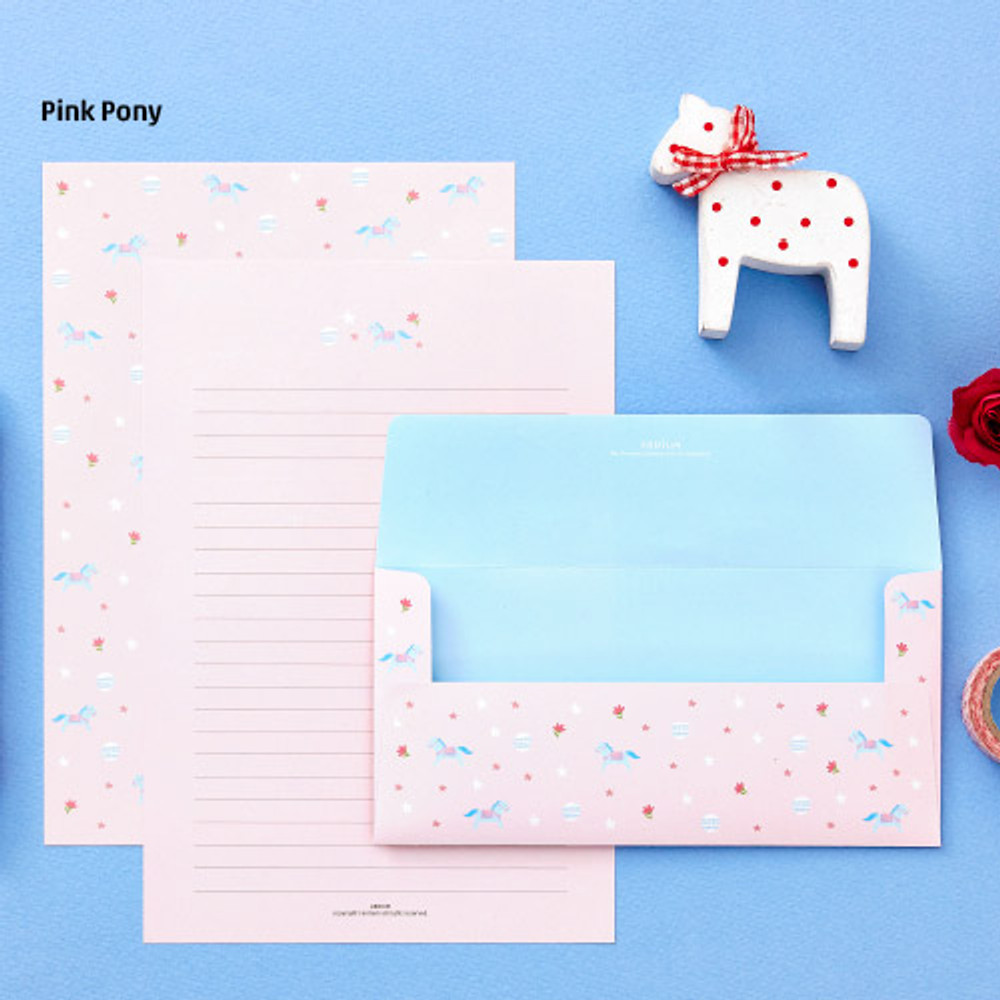 Pink pony - Animal letter paper and envelope set