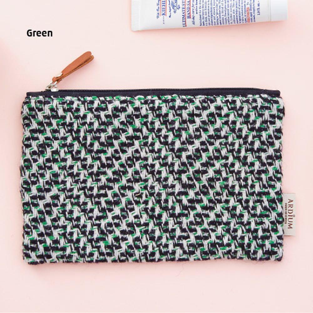 Green - Wool pattern flat zipper medium pouch