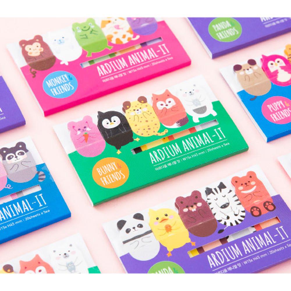 Cute animal sticky memo notes set