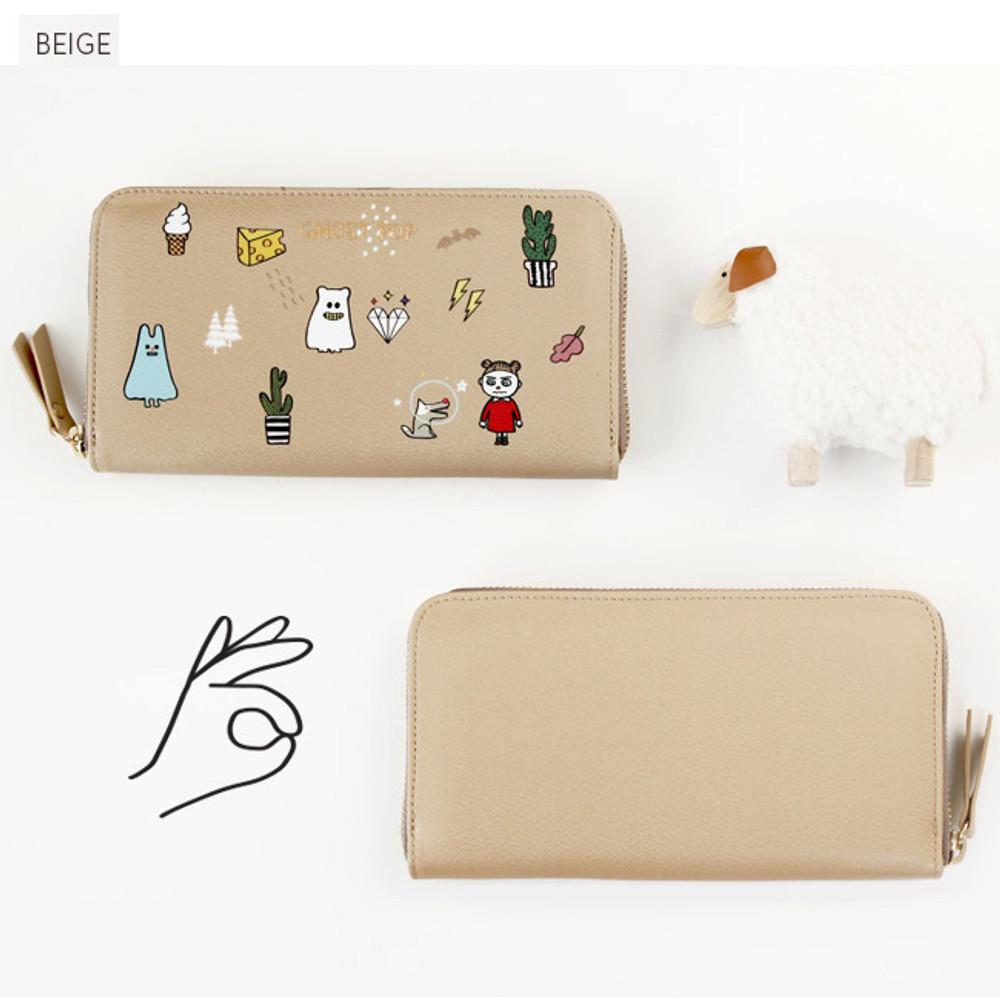 Beige - Ghost pop zip around medium long wallet
