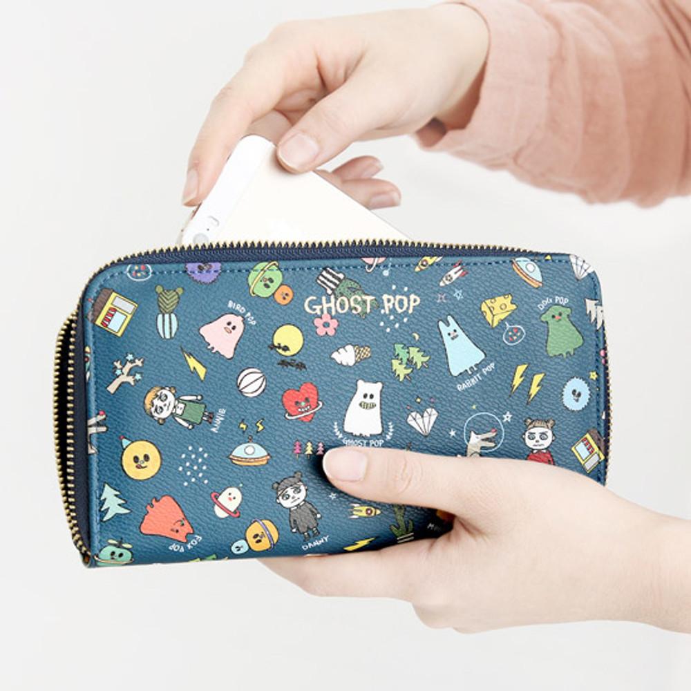 Navy - Ghost pop zip around medium long wallet