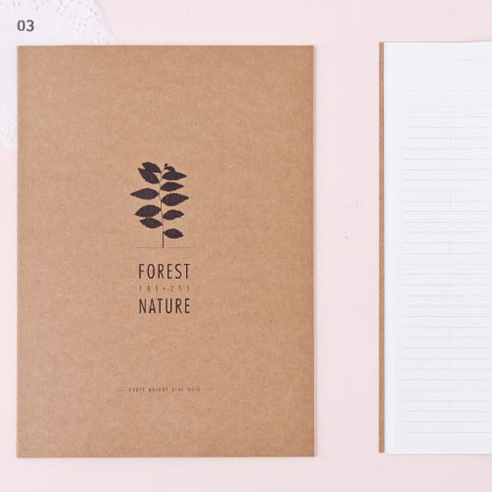 3 - Kraft forest nature lined notebook large