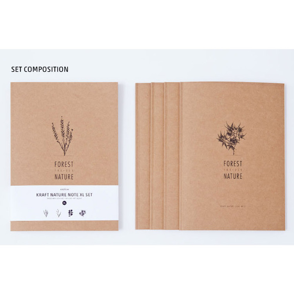 Ardium Kraft forest nature lined notebook large set