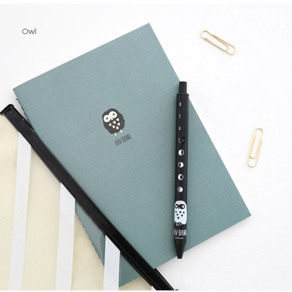 Owl - Ravband black gel pen 0.4mm