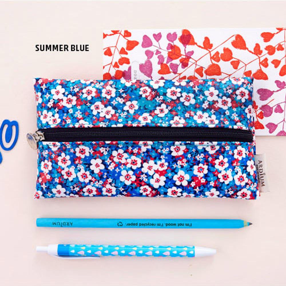 Summer blue - Pattern middle zipper slim pouch