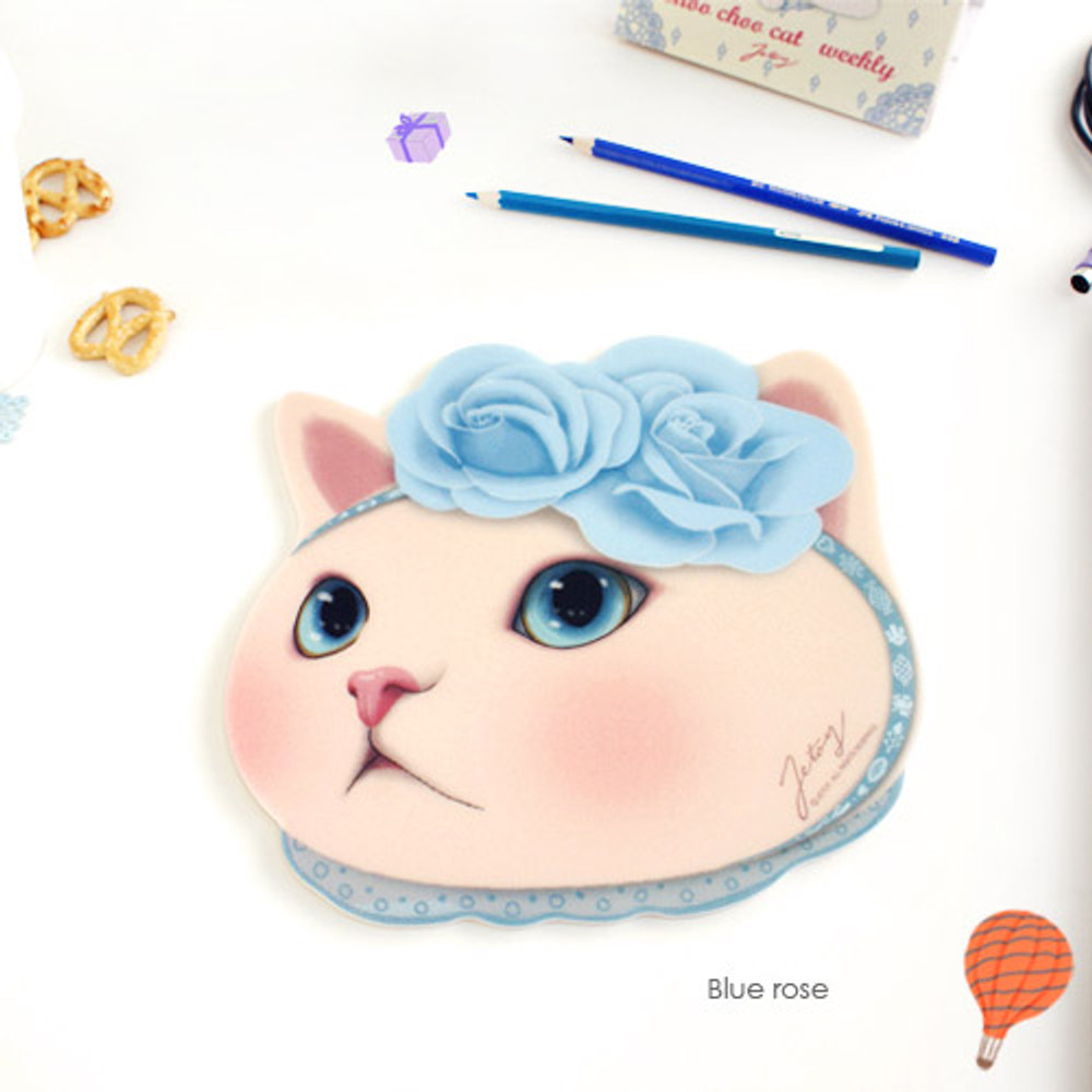 Blue rose - Choo Choo cute cat friends mouse pad