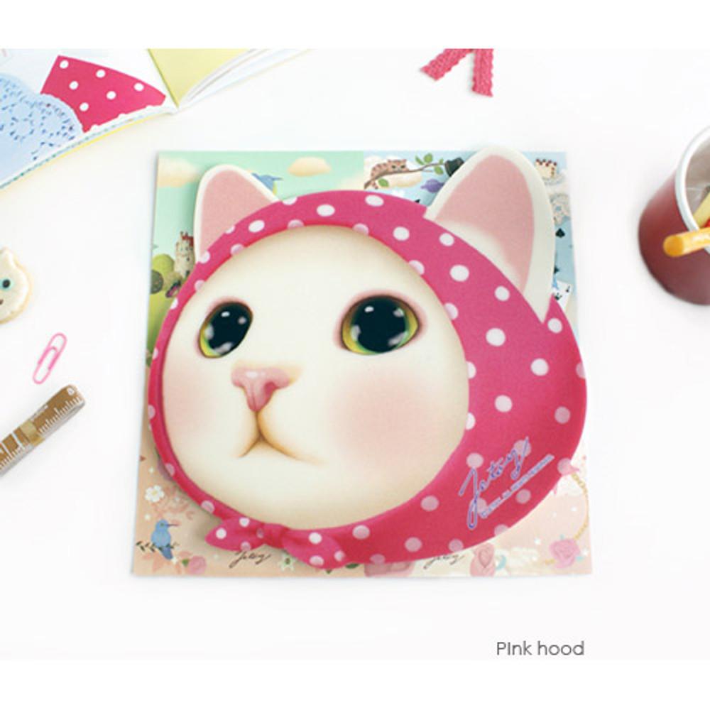 Pink hood - Choo Choo cute cat friends mouse pad
