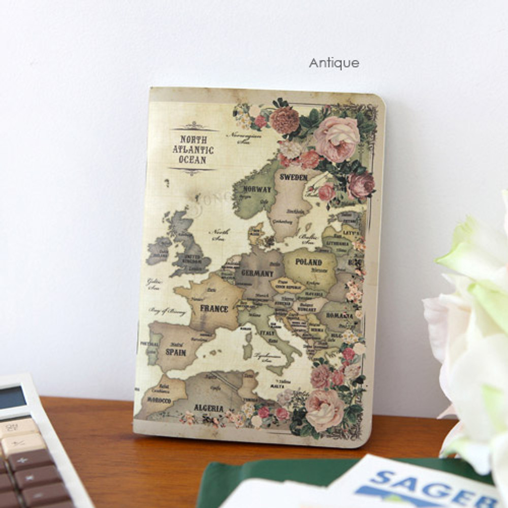 Antique - World map lined and plain small notebook