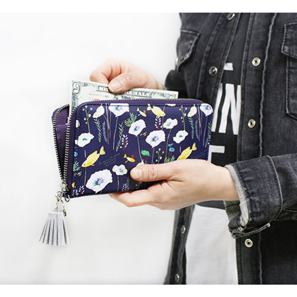 Navy - Willow story pattern zip around wallet with Tassle