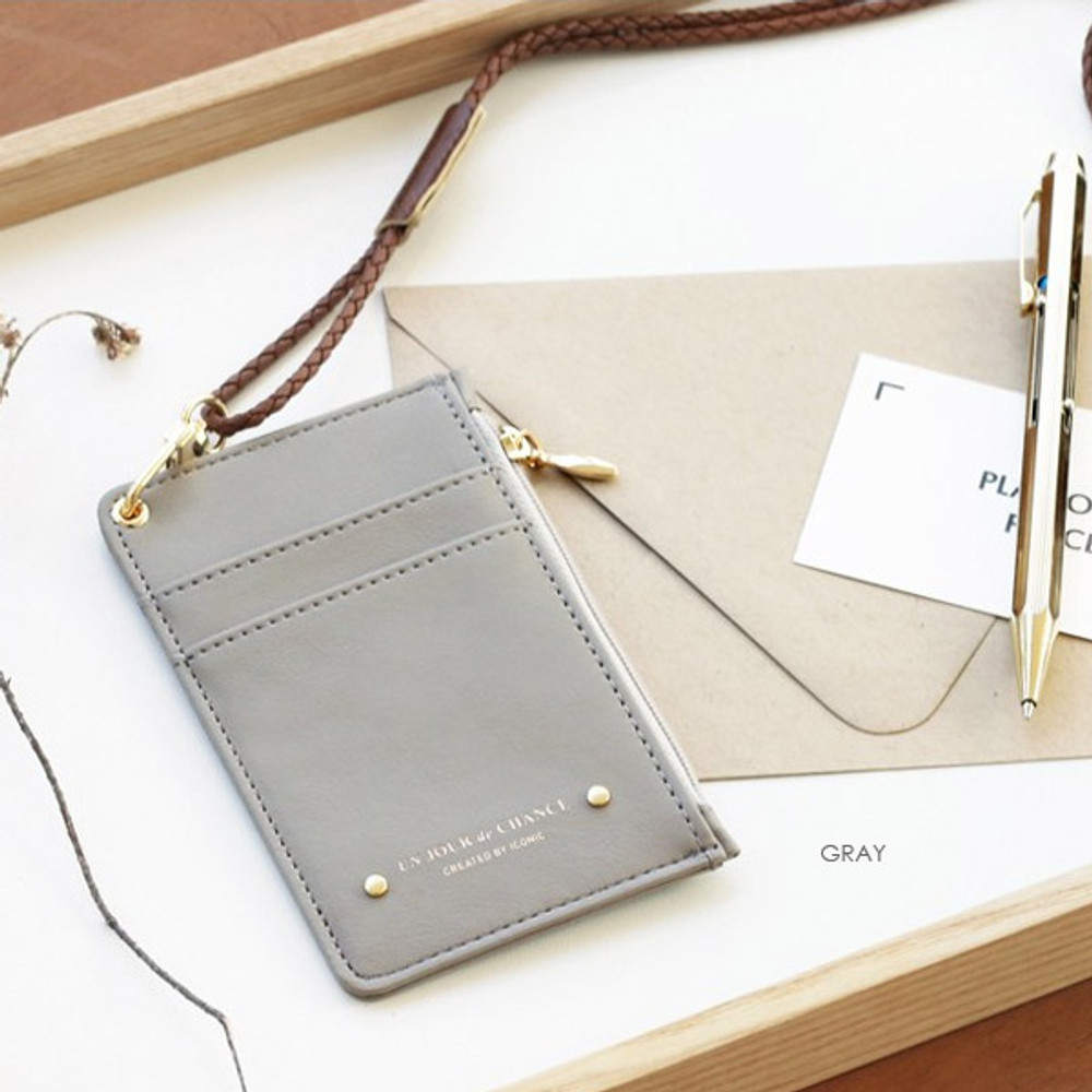 Gray - Un jour de chance zip up flat card holder