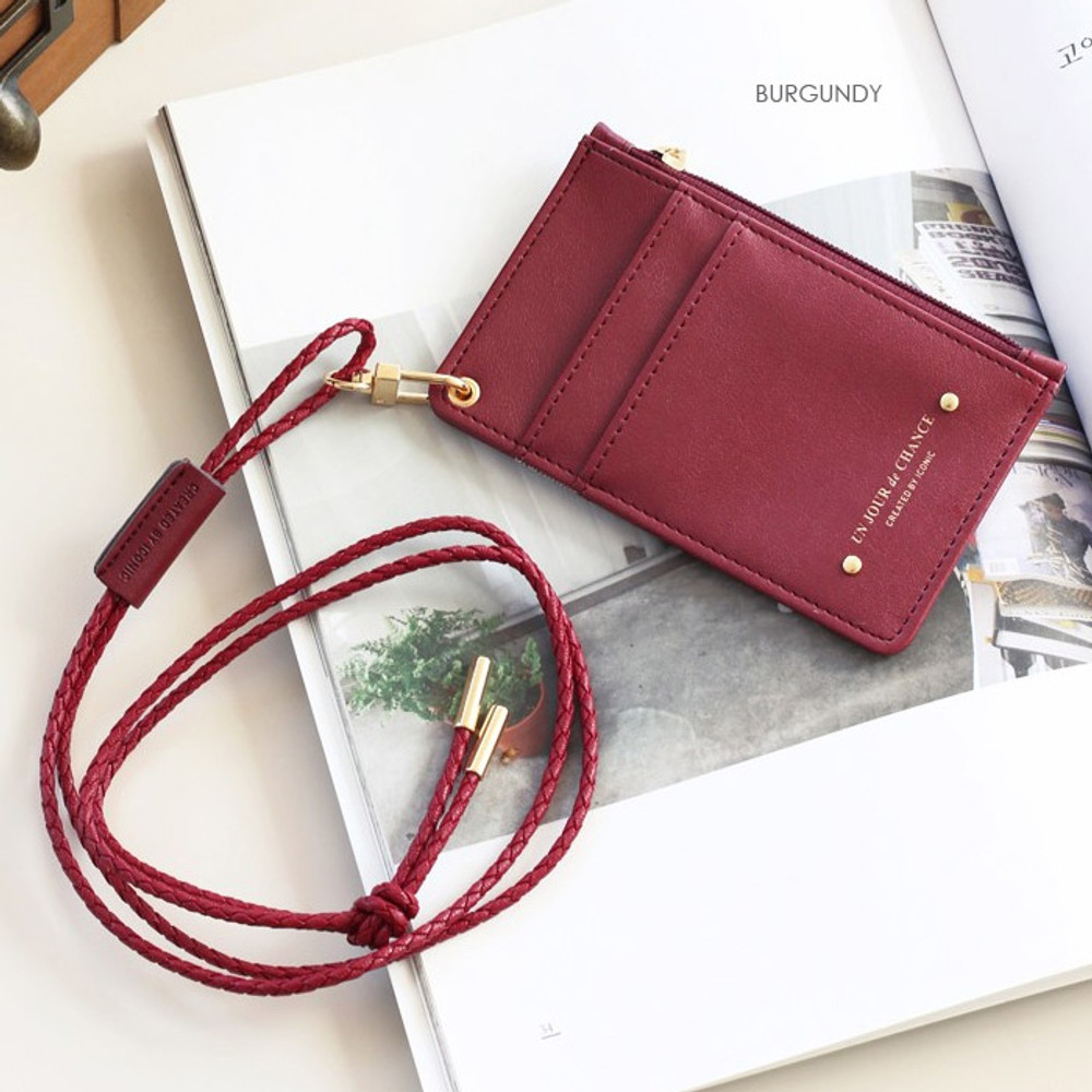 Burgundy - Un jour de chance zip up flat card holder