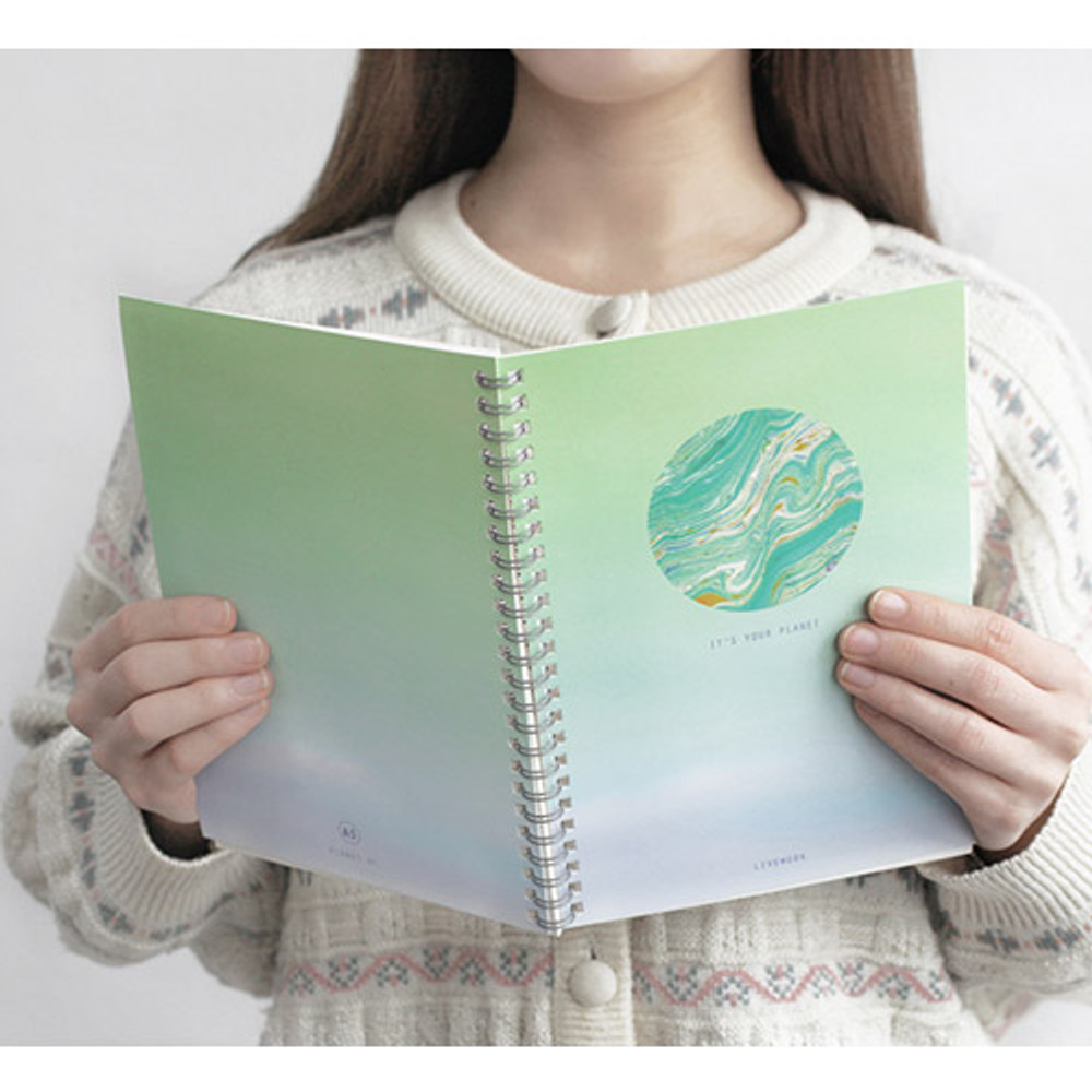 Planet #C - Planet wirebound lined notebook