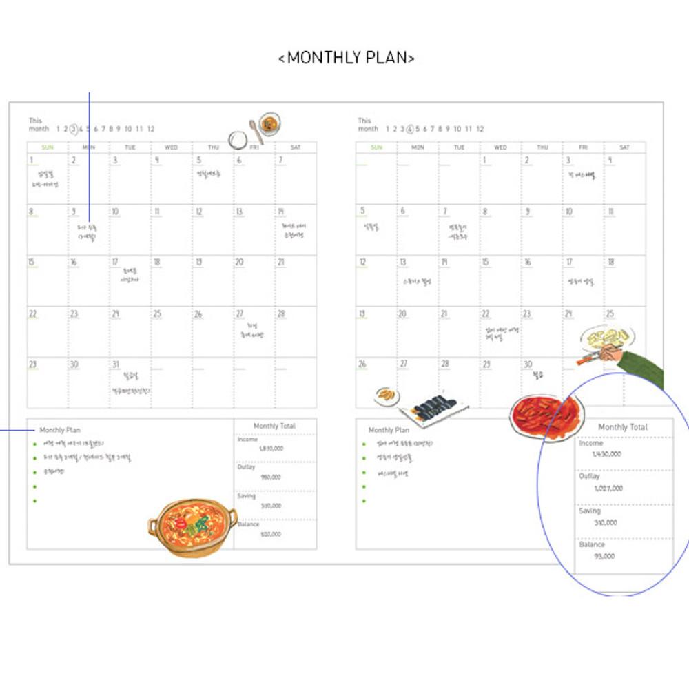 Monthly plan - Jam Jam cash book planner note
