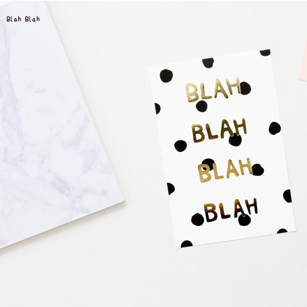 Blah Blah - Ghost pop illustration postcard