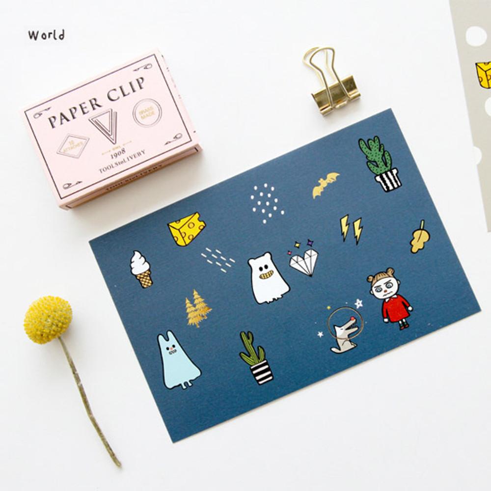 World - Ghost pop illustration postcard