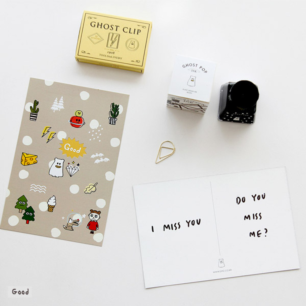 Good - Ghost pop illustration postcard