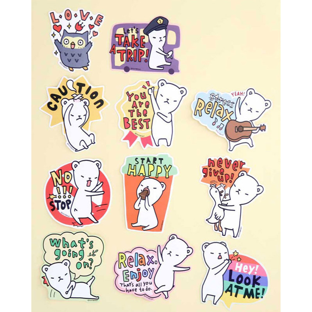 Composition of Big point buha bear deco sticker