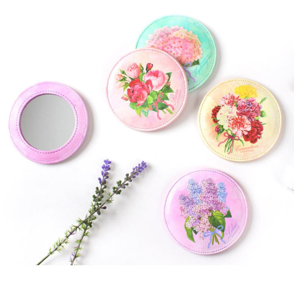Ma petite fille flower round handy mirror
