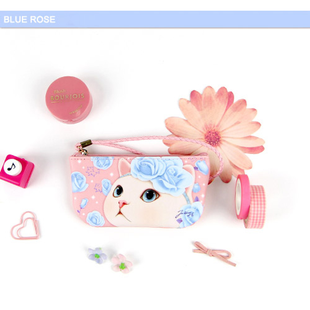 Blue rose - Choo Choo cat vanilla candy zipper pouch