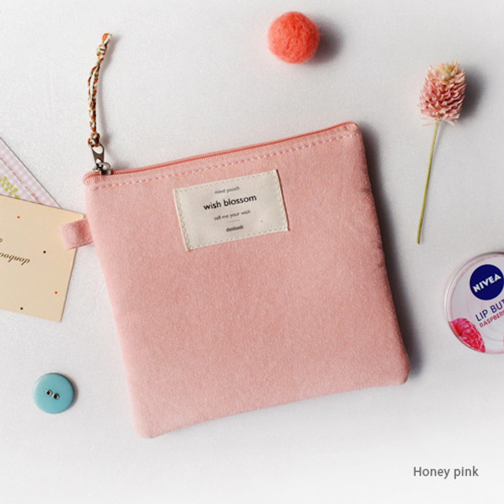 Honey pink - Wish blossom mind small zipper pouch