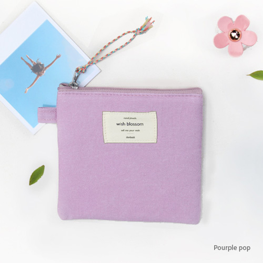 Purple pop - Wish blossom mind small zipper pouch
