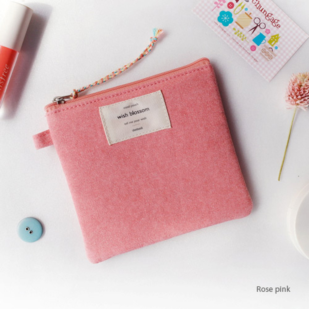 Rose pink - Wish blossom mind small zipper pouch