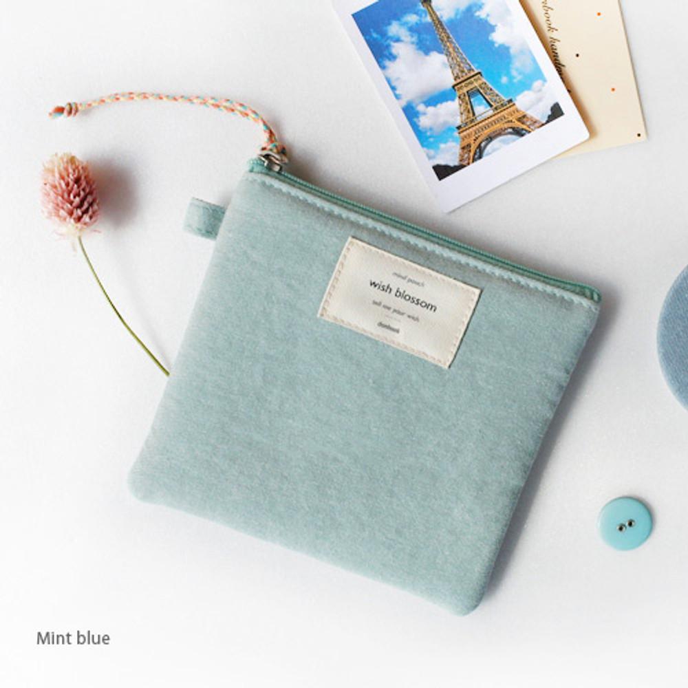 Mint blue - Wish blossom mind small zipper pouch
