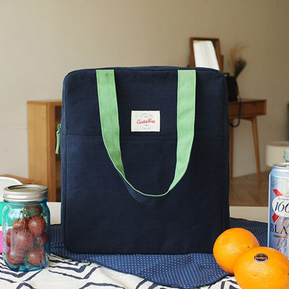 Navy - Picnic insulated cooler tote bag
