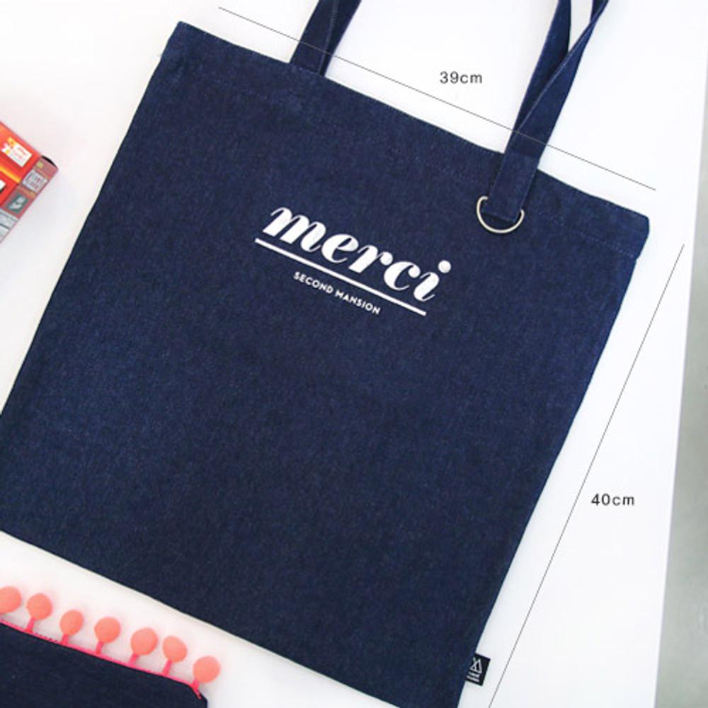 Size of Merci fabric eco tote bag