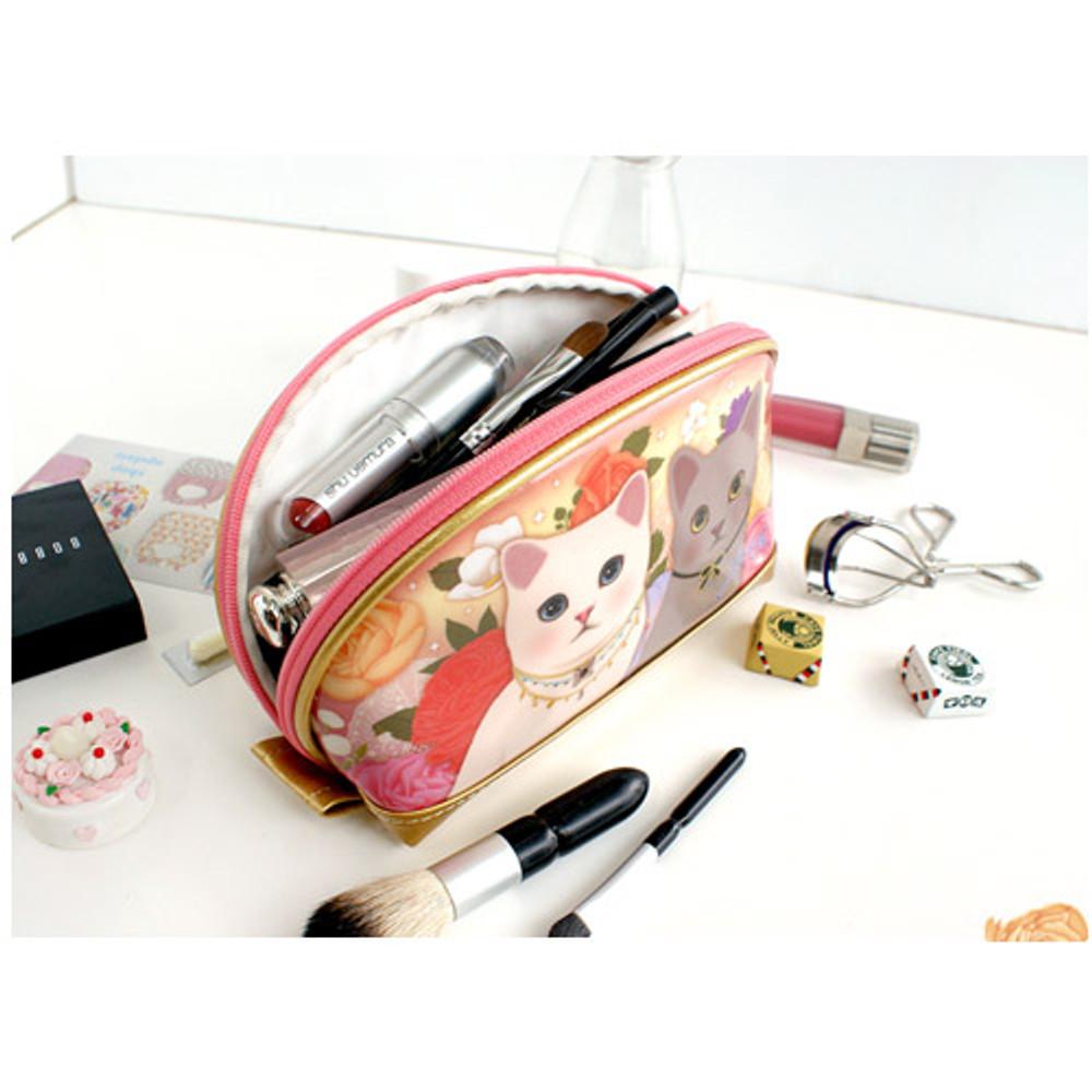 Romantic garden - Choo Choo cat bang bang zipper pouch