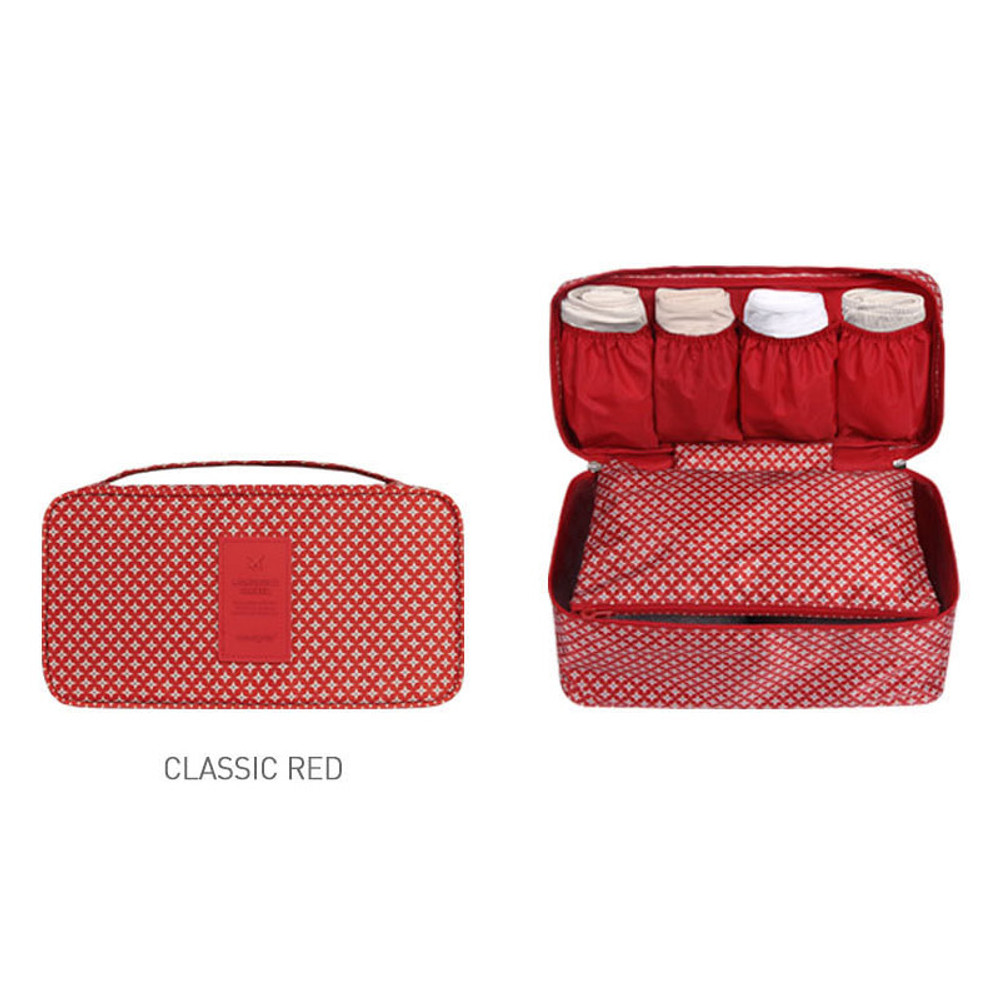 Classic red - Pattern travel pouch bag for underwear and bra