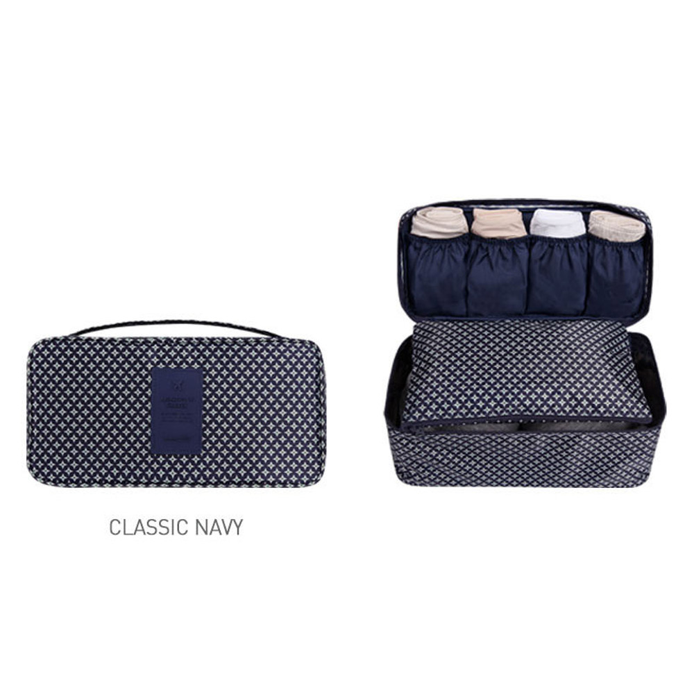 Classic navy - Pattern travel pouch bag for underwear and bra