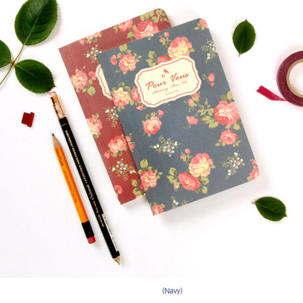Navy - Blooming flower pattern lined notebook small