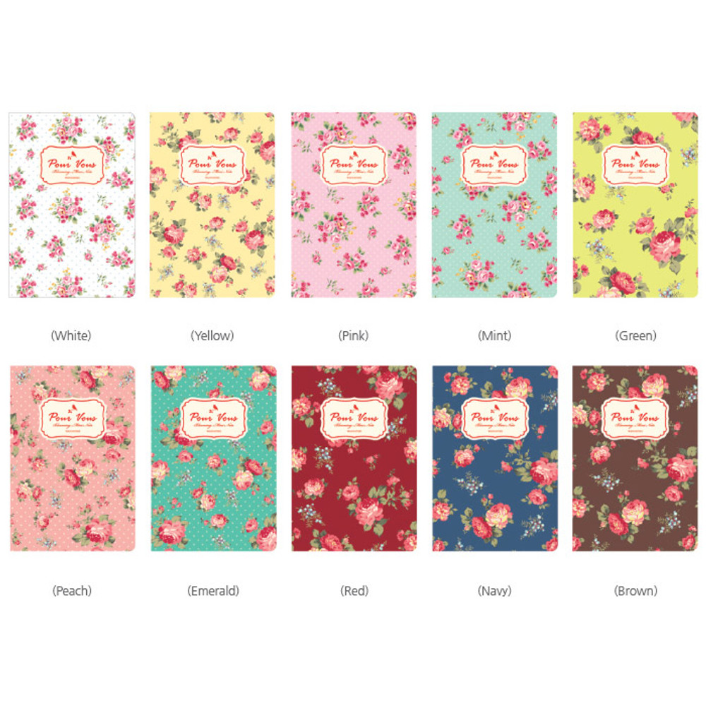Colors of Blooming flower pattern lined notebook small