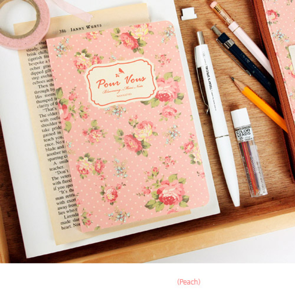 Peach - Blooming flower pattern lined notebook small