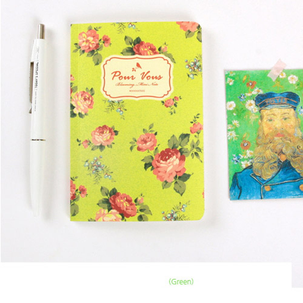 Green - Blooming flower pattern lined notebook small