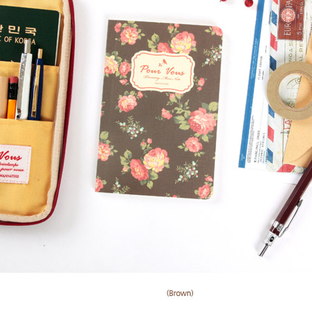 Brown - Blooming flower pattern lined notebook small