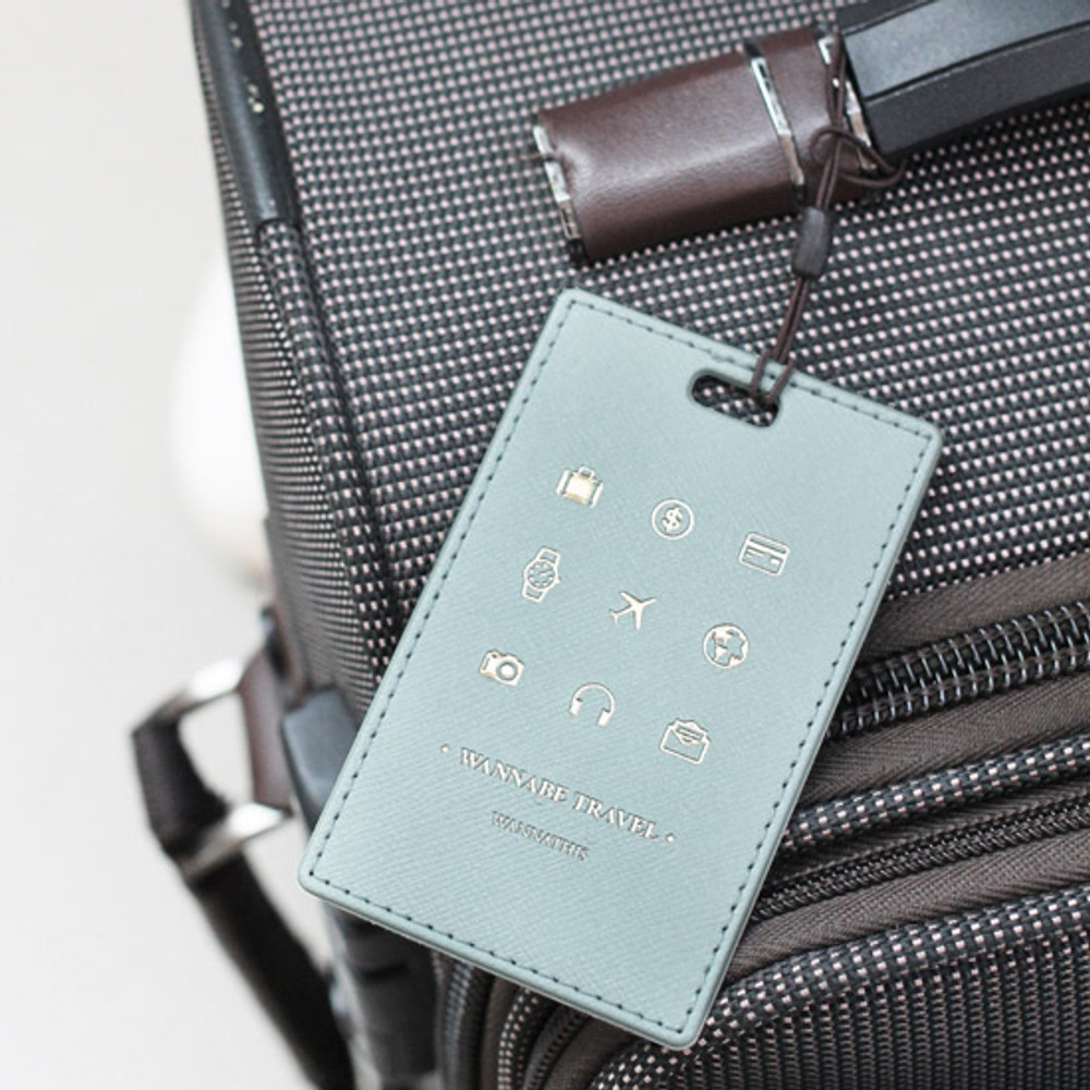 Mint gray - Wannabe pictogram travel luggage name tag